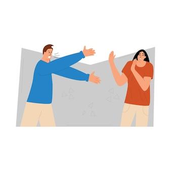 Briga de família o marido prova agressivamente seu direito à esposa