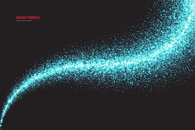 Bright cyan shimmer glowing particles light trail fundo abstrato