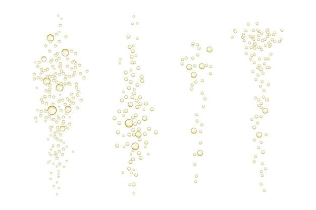 Brilha efervescente em uma bebida realista efervescente de champanhe, efeito refrigerante, oxigênio limpo, cerveja ou gás.