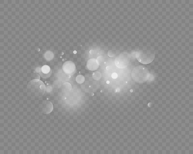 Brilha em fundo transparente. efeito de luz bokeh.