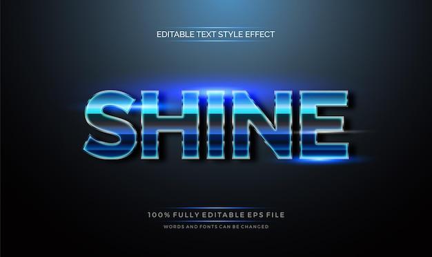 Brilha na cor azul brilhante. efeito de estilo de texto editável moderno.