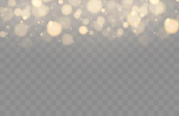 Brilhando bokeh isolado em luzes douradas de fundo transparente bokeh com partículas brilhantes isoladas.
