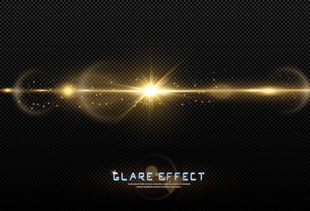 Brilhando estrelas douradas isoladas no fundo preto. efeitos, reflexo de lente, brilho, explosão, luz dourada, conjunto. estrelas brilhando, lindos raios dourados.