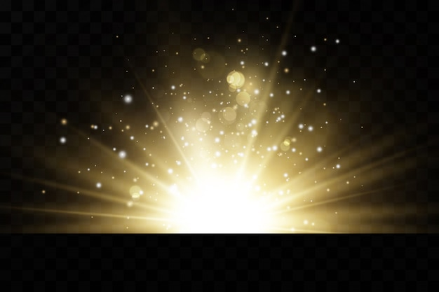 Brilhando estrelas douradas sobre fundo preto. efeitos, brilho, linhas, brilho, explosão, luz dourada. ilustração