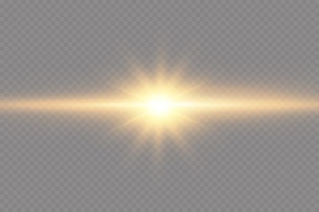 Brilhando estrelas douradas sobre fundo preto. efeitos, brilho, linhas, brilho, explosão, luz dourada. ilustração.