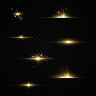 Brilhando estrelas douradas sobre fundo preto.