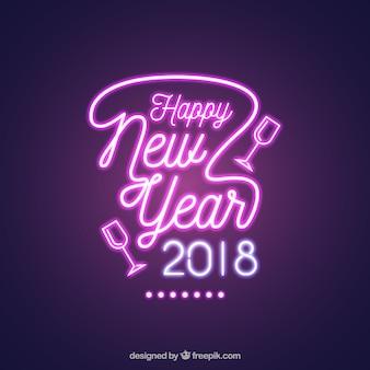 Brilhante ano novo sinal de néon de cor rosa