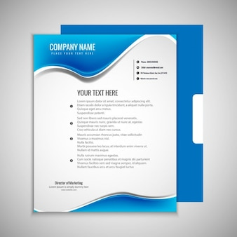 Brilhante brochura ondulado azul