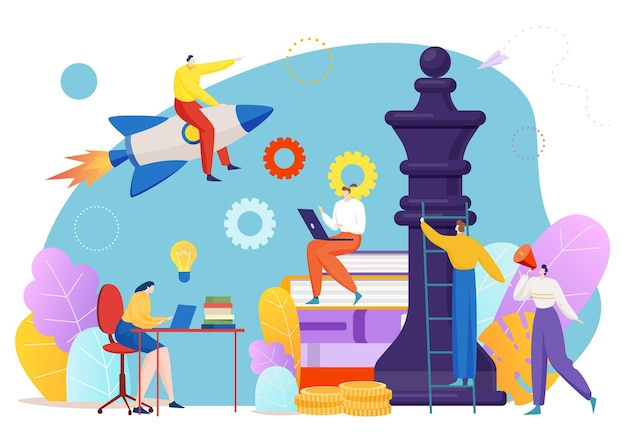 Brilhante estratégia empresarial, trabalho em equipe, personagens minúsculos