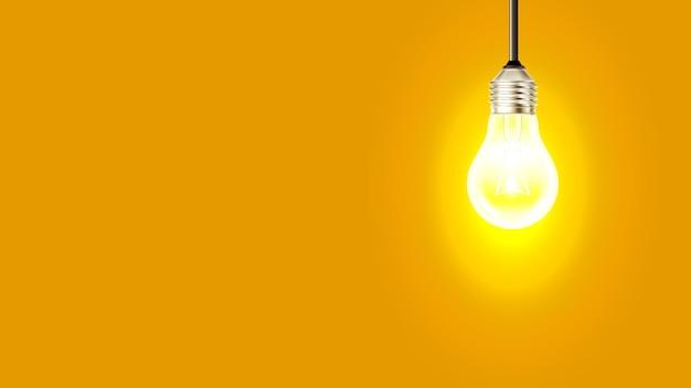 Brilhante lâmpada incandescente cópia espaço vector. lâmpada elétrica com filamento de arame pendurado no teto e aquecida. modelo de iluminação iluminar equipamento ilustração 3d realista