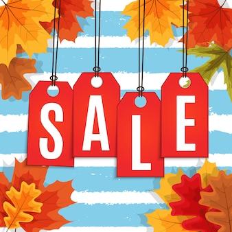 Brilhante outono folhas venda banner.
