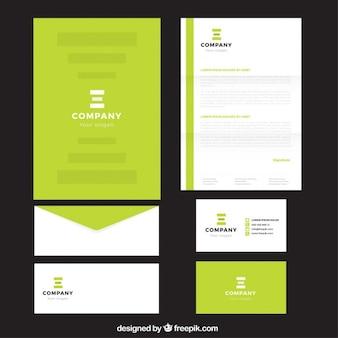 Brilhante papel timbrado da empresa verde