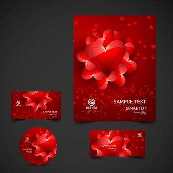 Brilhante papelaria valentine vermelho