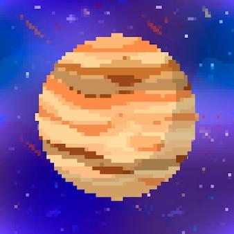 Brilhante planeta fofo de júpiter em estilo pixel art no fundo do espaço