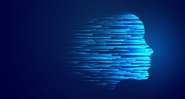 Brilhante tecnologia rosto azul inteligência artificial