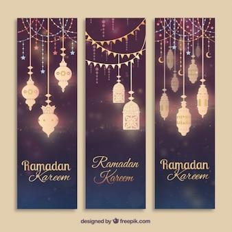 Brilhantes banners lâmpadas árabes