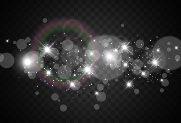 Brilhantes belos brilhos ou faíscas em um fundo transparente. ilustração em vetor de um cintilante