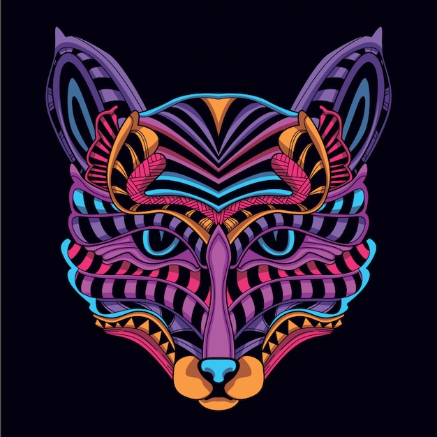 Brilhar na cabeça de gato decorativo de néon escuro cor