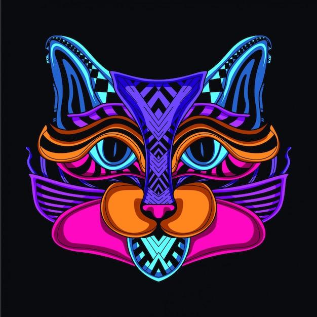 Brilhar na cabeça do gato escuro
