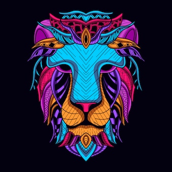 Brilhar na cabeça do leão escuro na cor neon