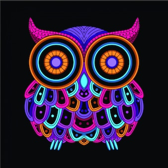 Brilhar na coruja decorativa escura