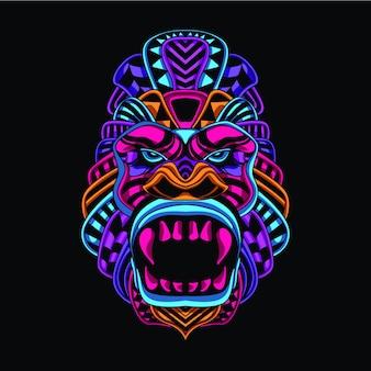 Brilhar no macaco decorativo escuro de cor neon