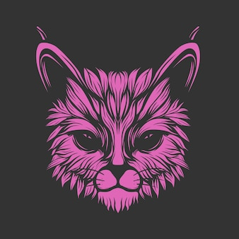 Brilhar rosto de gato roxo