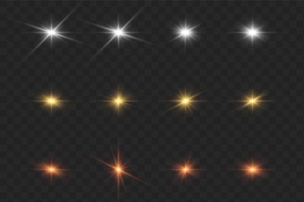 Brilhe estrelas com brilhos e brilhos. efeito cintilação, luz.