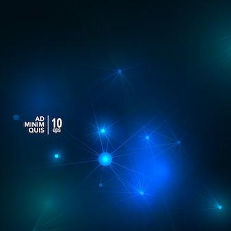 Brilho abstrato conectar formas sobre fundo azul escuro. estrutura de conexão com o conceito geométrico de tecnologia moderna.