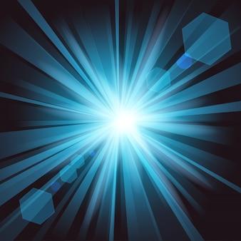 Brilho azul com fundo de reflexo de lente