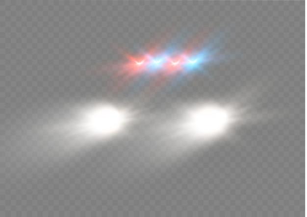 Brilho branco realista de feixes redondos de faróis de automóveis