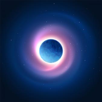 Brilho cósmico do fundo do planeta. ilustração vetorial