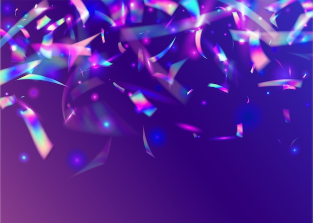 Brilho de bokeh. arte festiva. efeito de aniversário. folha de cristal. banner de laser. blur carnaval serpentine. holographic sparkles. textura azul do disco. brilho bokeh roxo