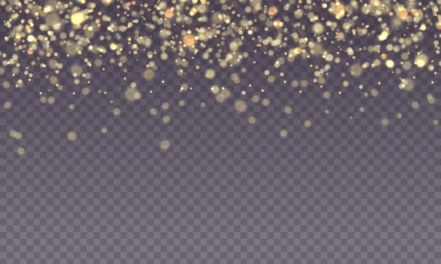 Brilho de faísca dourada com efeito de luz brilhante brilhando turva bokeh estrela amarela feliz Vetor Premium