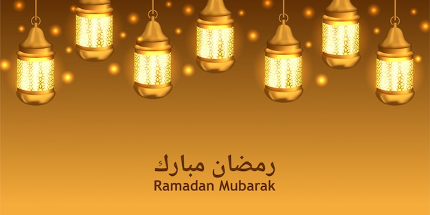Brilho de lanterna dourada para ramadan kareem e mubarak
