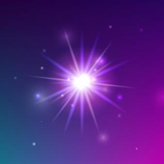 Brilho de luz brilhante. ilustração em vetor de elemento de faísca brilhante sobre fundo roxo.