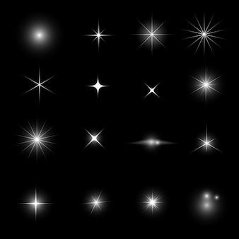 Brilho de luz da estrela e conjunto de efeitos de brilho