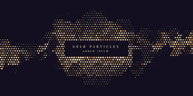 Brilho de ouro. partículas brilhantes em um fundo escuro. ilustração vetorial