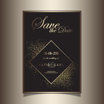 Brilho de ouro salvar o design de convite de data