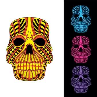 Brilho decorativo do crânio no escuro