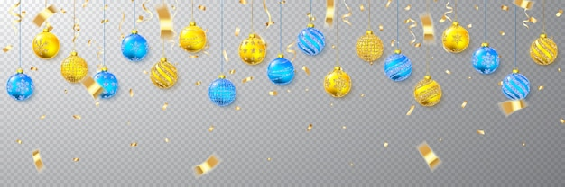 Brilho dourado e azul brilhante brilhante e bolas de natal transparentes. decoração de férias