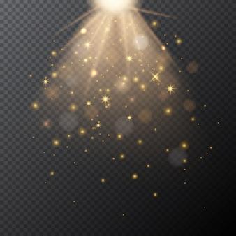 Brilho dourado transparente com efeito de luz mágica bokeh.