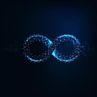 Brilho futurista baixo sinal de infinito poligonal