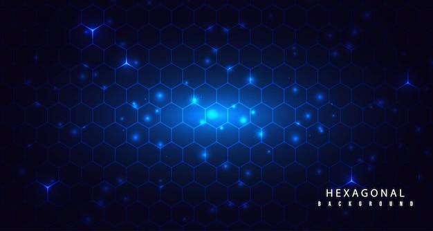 Brilho hexagonal com fundo abstrato de partículas