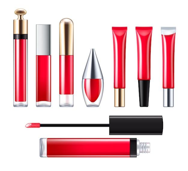 Brilho labial vermelho com conjunto de aplicadores.