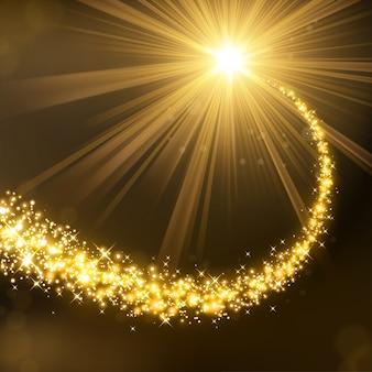 Brilho mágico de ouro com luz de fundo iluminado