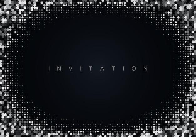 Brilho prateado em fundo preto fundo brilhante festivo vector eps10