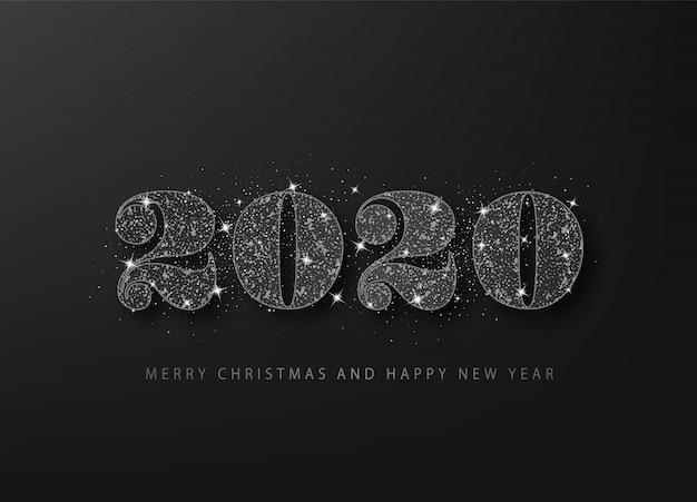 Brilho preto 2020 em um fundo preto. feliz ano novo cartão de grade.