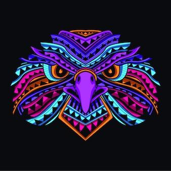 Brilho rosto de águia na cor neon
