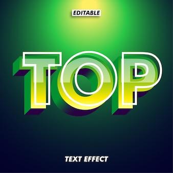 Brilho verde moderno efeito de texto 3d